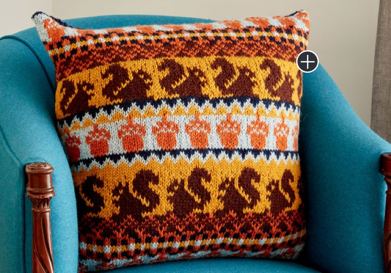 Intermediate Autumn Harvest Knit Pillow