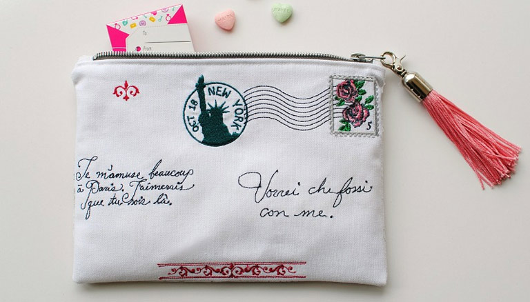 DIY Embroidered Zipper Pouch