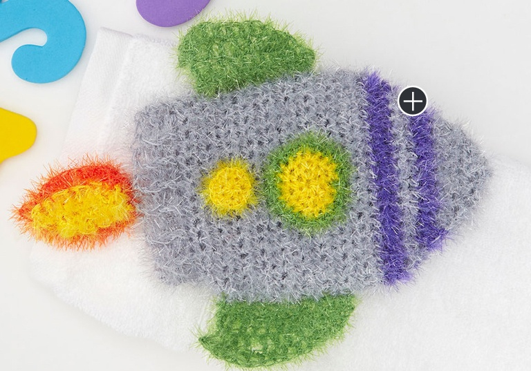 Easy Crochet Rocket Ship Scrubby