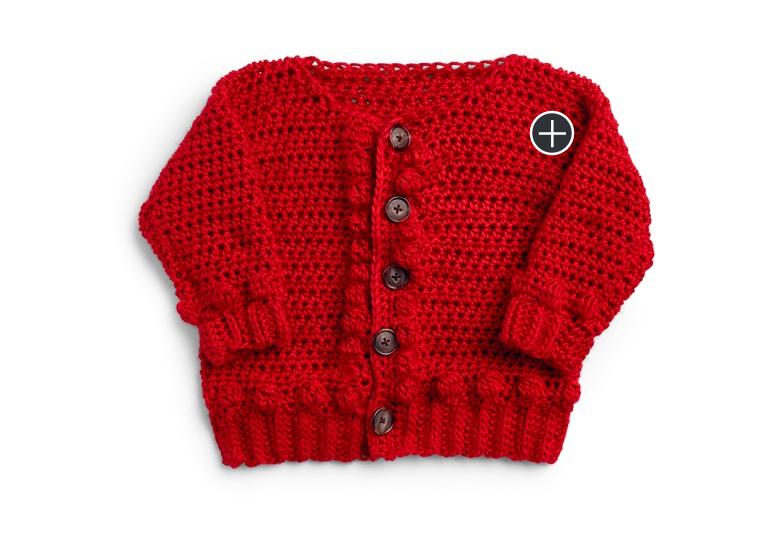 Intermediate Bobbly Baby Crochet Cardigan