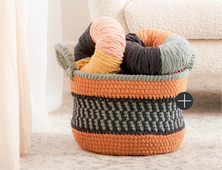 image of Bernat Split Sc Colorwork Crochet Basket Blanket