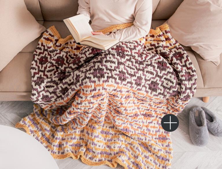 image of Bernat Striped Steps Crochet Blanket Blanket