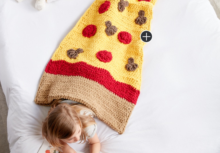 Easy Pizza Party Crochet Snuggle Sack