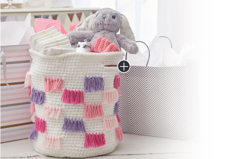 Easy Crochet Fringe Basket