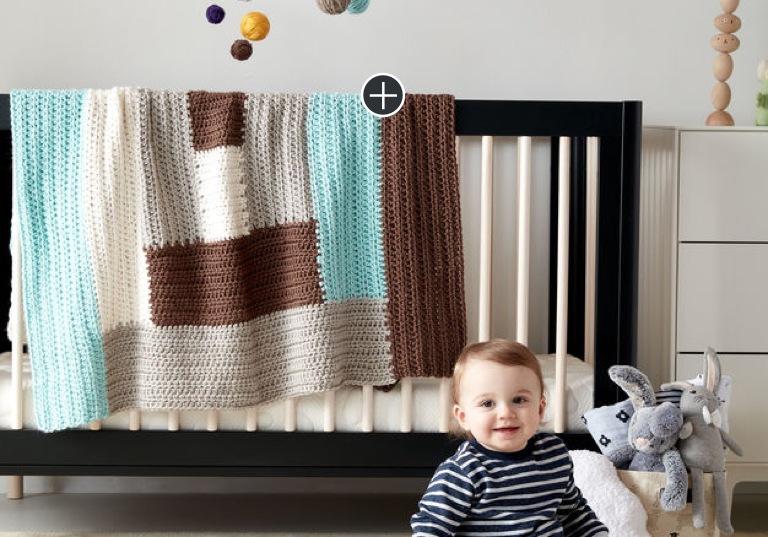 Easy Log Cabin Crochet Baby Blanket