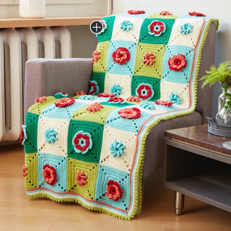 Intermediate Floral Granny Crochet Afghan
