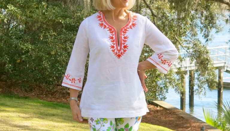 The Tango Tunic with Embroidered Neckline
