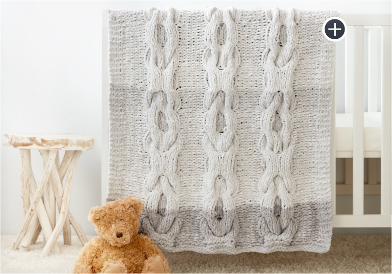 Intermediate Hugs and Kisses Cable Knit Baby Blanket
