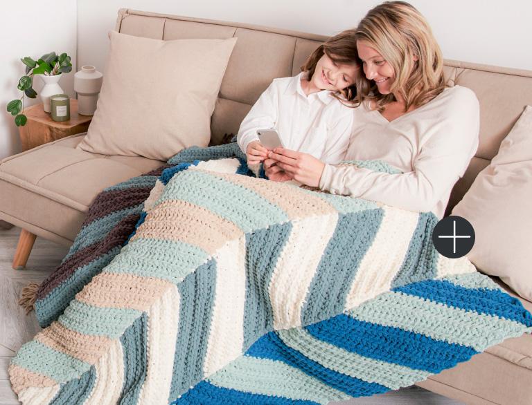 image of Bernat Ridged Chevron Crochet Blanket