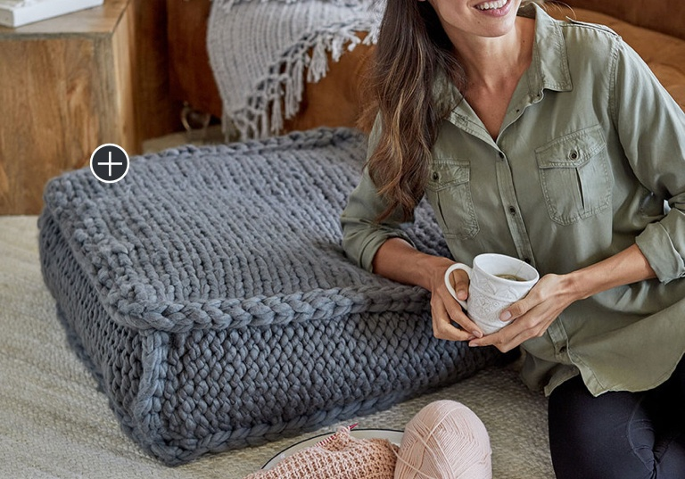Easy Knit Extra Seating Floor Pillow