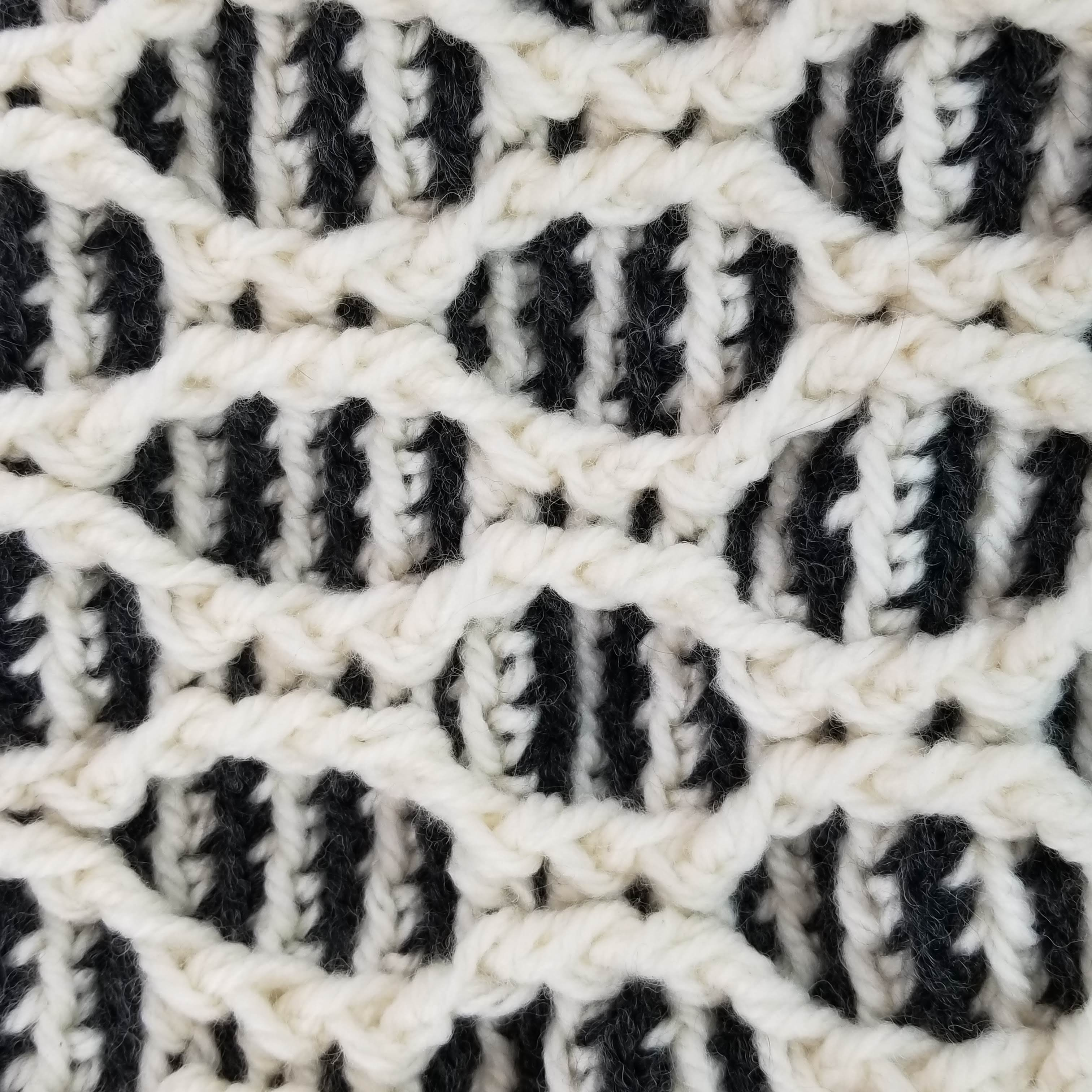 Patons Striped Hourglass Basket (close up shot)