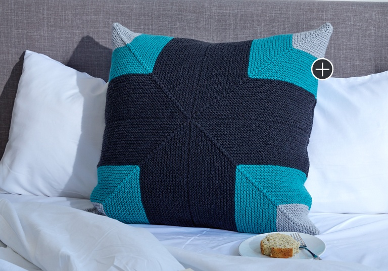 Easy Mighty Mitered Knit Pillow