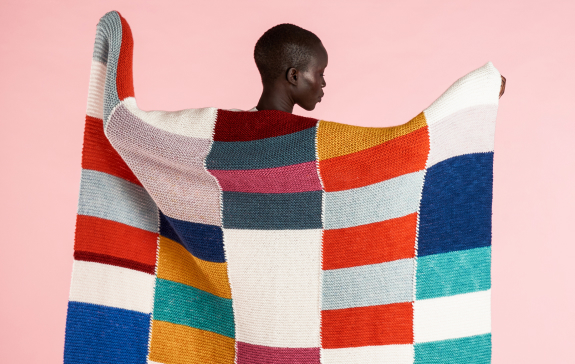 Caron Knit Patchwork Blanket with Visible Seams