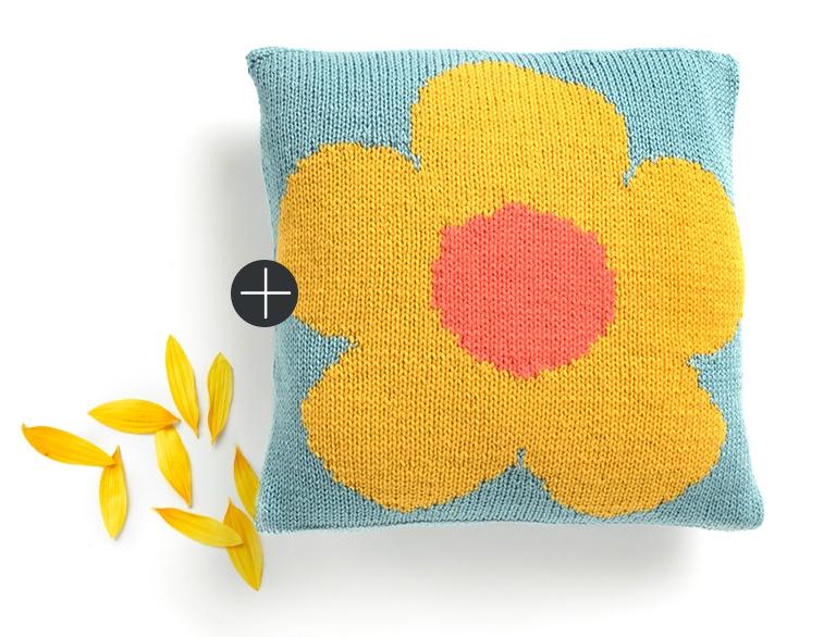 Caron Caron knit intarsia mod flower pillow