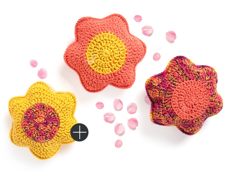 Caron crochet petal pillows