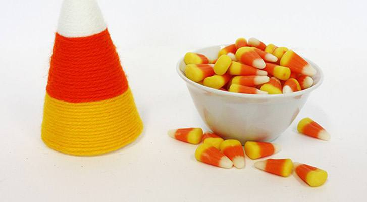 Simple Yarn Wrapped Candy Corn