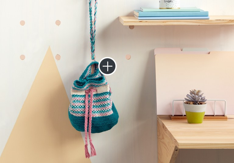 Intermediate Woven Look Knit Bucket Bag