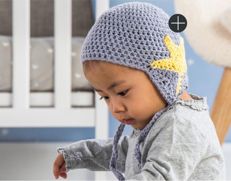 Easy Bernat Crochet Star Baby Earflap Hat