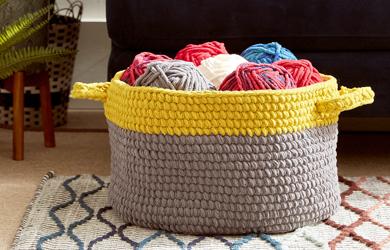 Basket with yarn inside