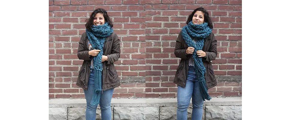 Crossing Paths Crochet Super Scarf in Bernat Softee Chunky yarn