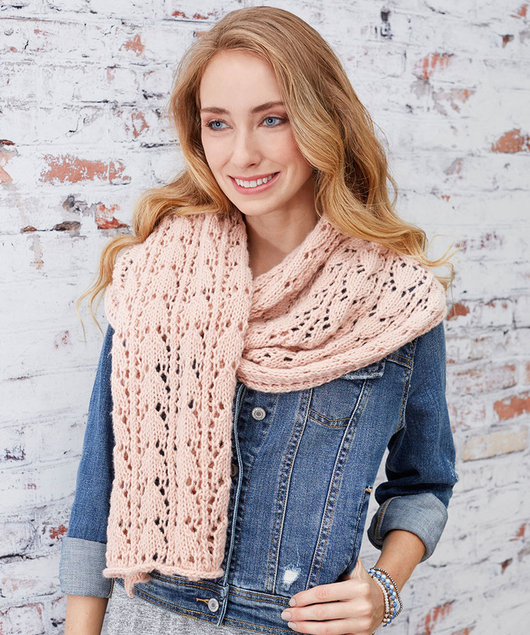 First-Timer Knit Lace Scarf Free Knitting Pattern LW5830
