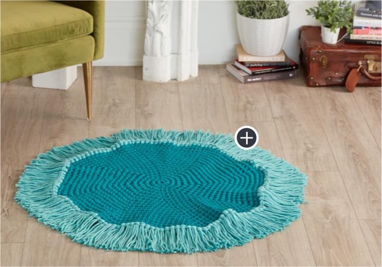 Easy Crochet Round Fringe Rug
