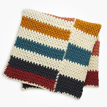 Bernat staggered stripes crochet blanket