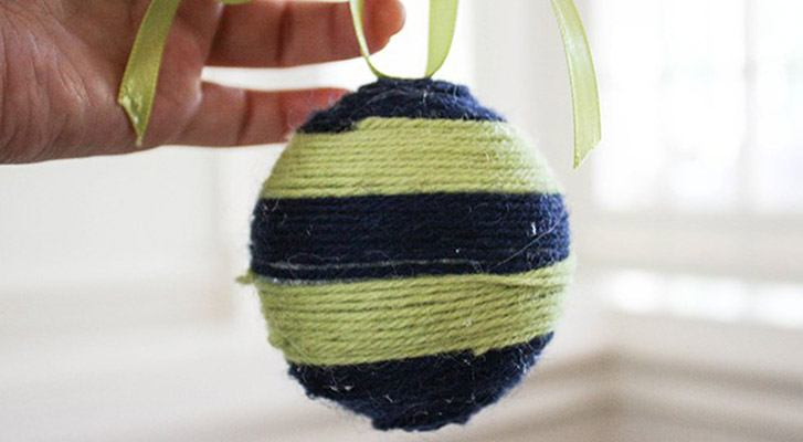 Festive Yarn Wrapped Ornaments