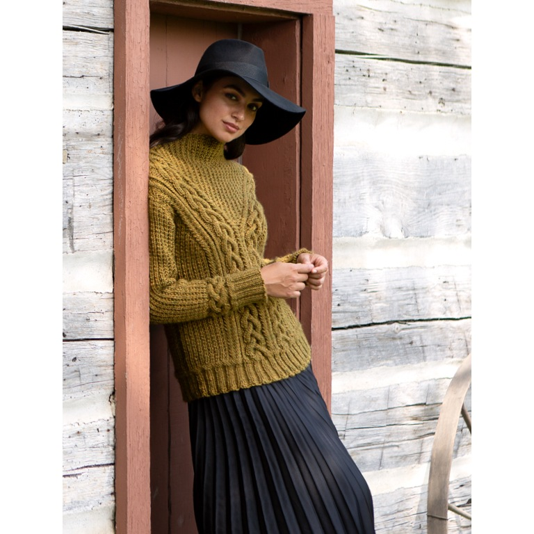 Intermediate Branching Paths Cable Knit Sweater