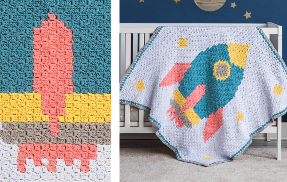 Bernat Rocketship Crochet Baby Blanket