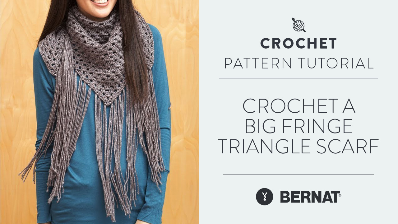Crochet A Big Fringe Triangle Scarf