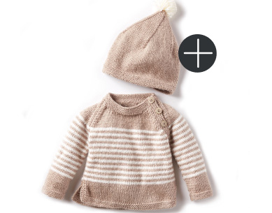 Bernat we stripes knit pullover and hat