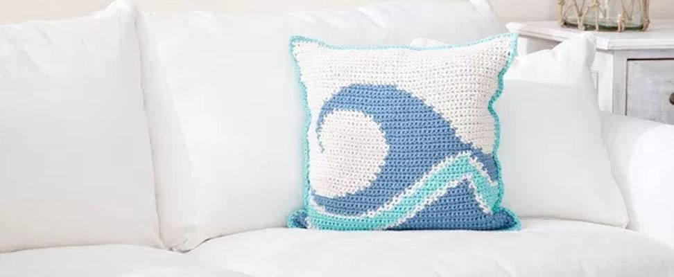 Catch a Wave Crochet Pillow in Bernat Maker Home Dec yarn