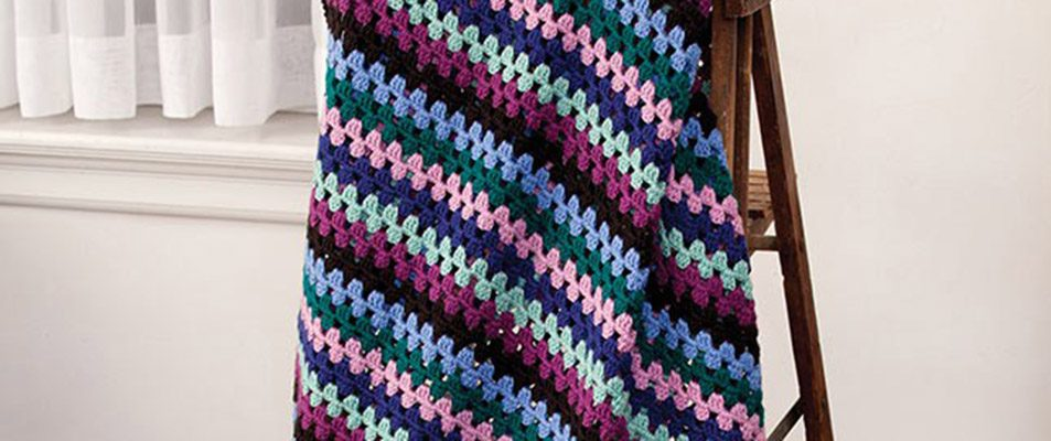 Jewel Tone Granny Stripes Afghan in Caron Simply Soft