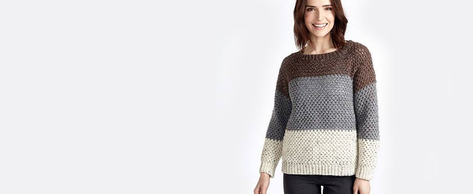 Stepping Stone Crochet Pullover in Caron Simply Soft Tweeds