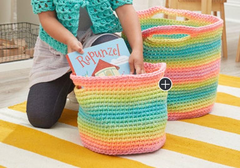 Easy Striping Fun Crochet Baskets