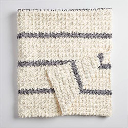 Free Crochet Pattern - Pin Stripe Crochet Blanket in Bernat Blanket yarn