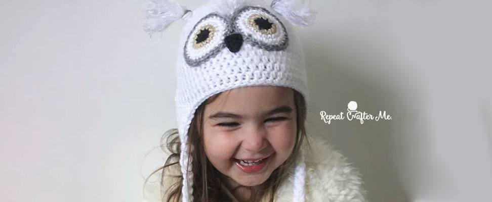 Crochet Snowy Owl Hat in Caron Simply Soft yarn by RepeatCrafterMe