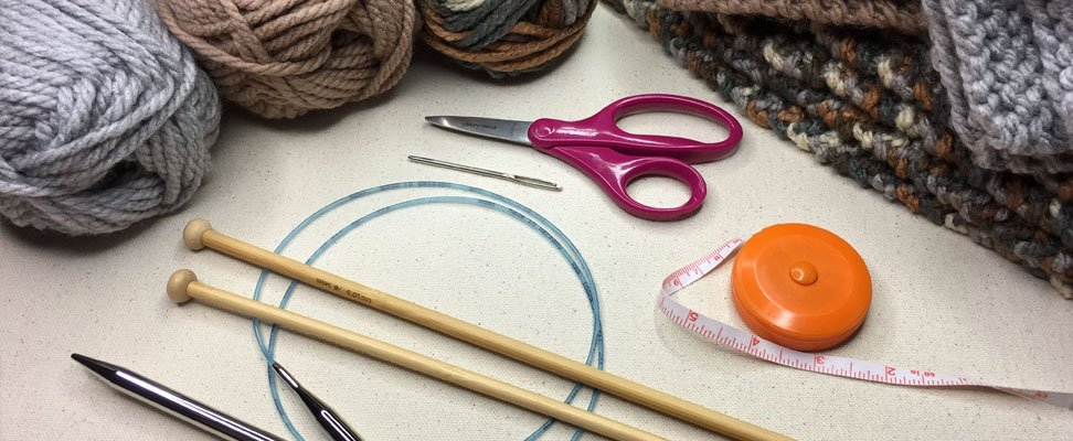 Supplies & yarn needed to make the How to Knit a Blanket pattern
