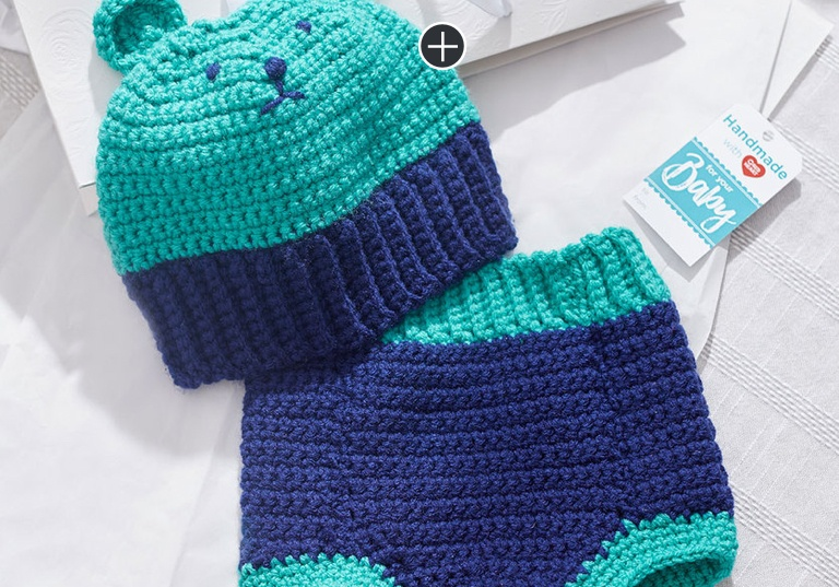 Intermediate Crochet Bear Hat & Diaper Cover