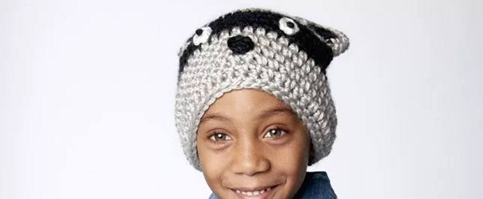 Racoon hat in size 6-8 years