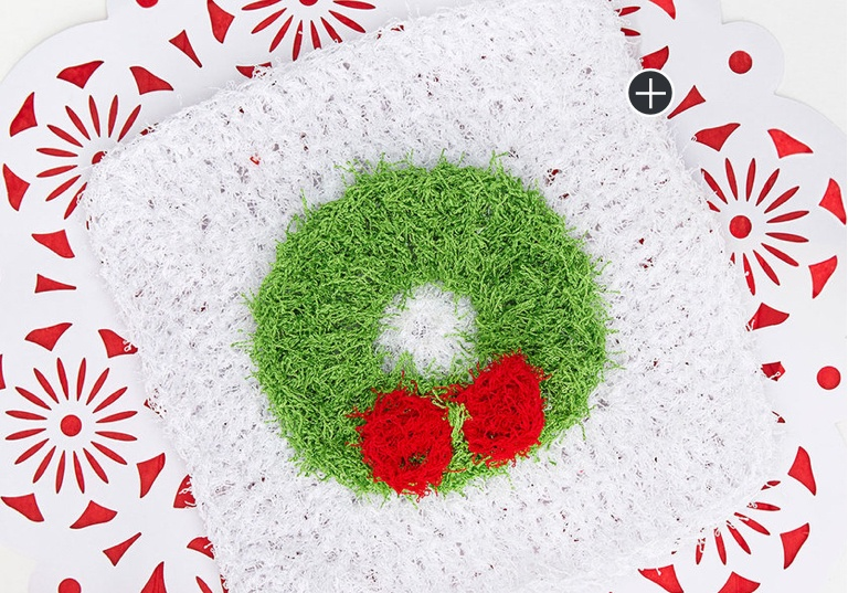 Easy Crochet Christmas Wreath Dishcloth