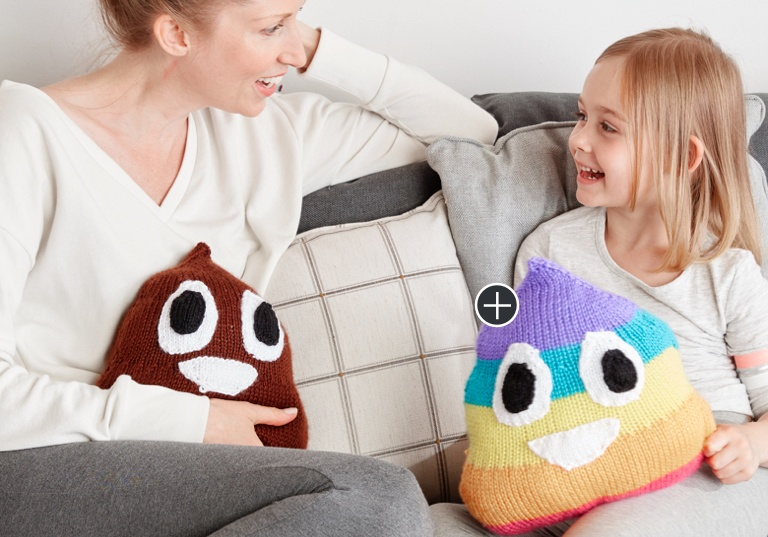 Easy Poop Emoji Knit Pillows