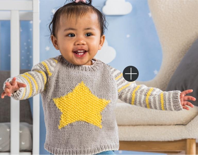 Intermediate Bernat Star Knit Baby Pullover