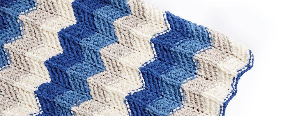 Radiant Ripple Knit Blanket in Bernat Blanket Stripes, Cape Cod
