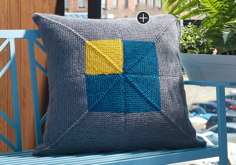 Easy Crazy Corners Knit Pillow