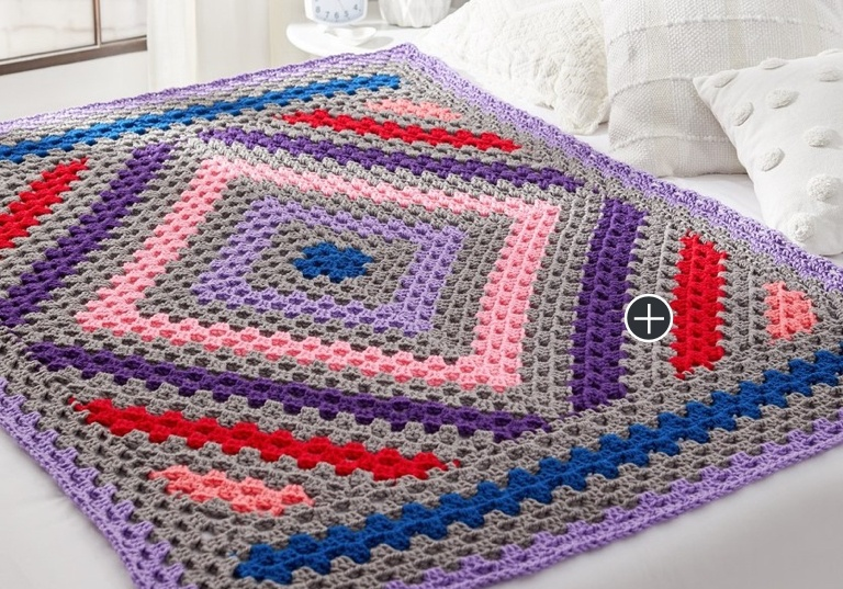 Easy Diamond in the Rough Crochet Throw