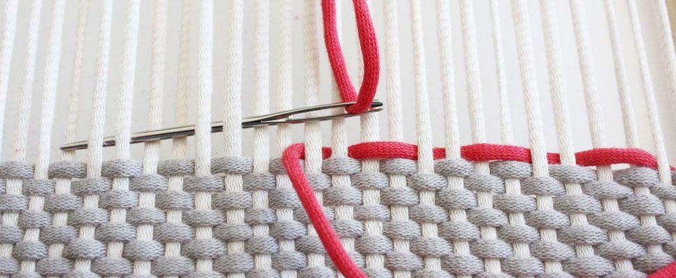Frame Weaving with Bernat Maker Home Dec yarn Step 4.5