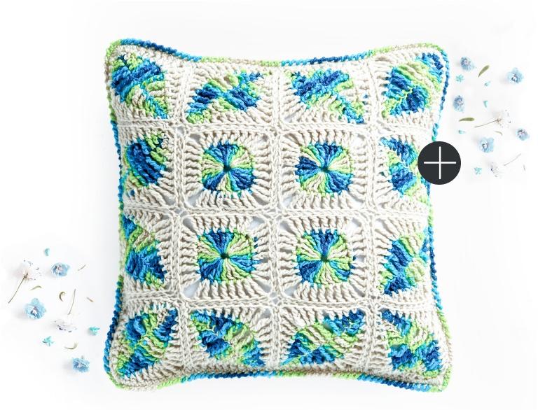 Caron crochet mod leaves pillow