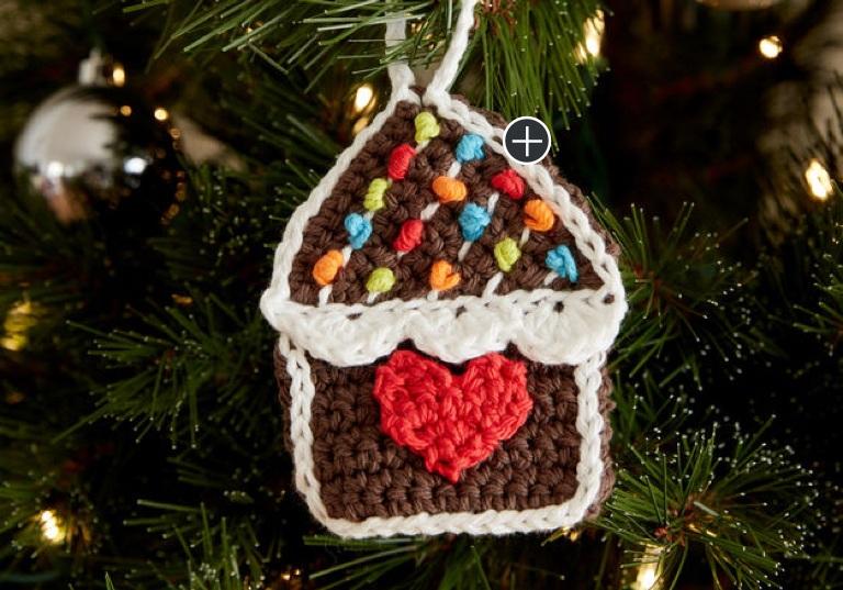 Easy Gingerbread House Crochet Ornaments